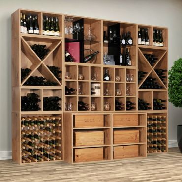 Wooden wine rack system CAVEPRO, country oak
