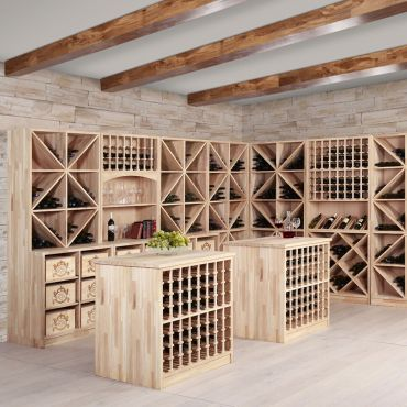 Wine rack series PRESTIGE made of solid oak, natural