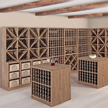 Wine rack system PRESTIGE made of solid oak, brown stained