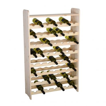 Wooden wine rack OPTIPLUS,with top end panel, untreated wood