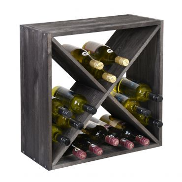 Wine rack 52 cm, module X-Cube brown stained