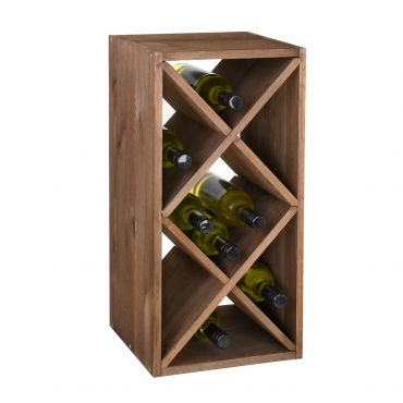 Wine rack with diamond shaped inserts, narrow, brown
