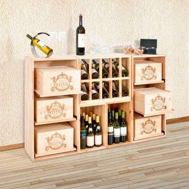 Wine rack BOX made of pine wood
