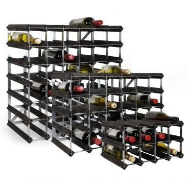 Wooden wine rack system TREND, black stain, D 30 cm