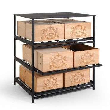 BLACK PURE Metal Wine Rack with Sliding Shelves