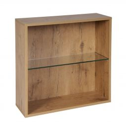 Rack module with glass shelf , country oak
