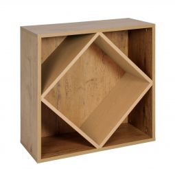 Rack module with large diamond shaped inserts, country oak