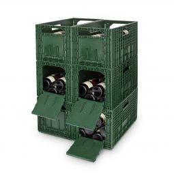 WINEBOX storage, plastic, green, 6 piece set